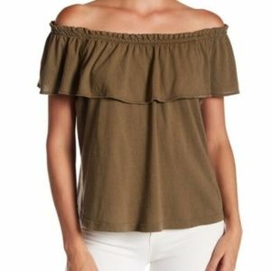 Current Elliott The Ruffle Top Olive Green Blouse